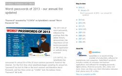 2013年の「最悪なパスワード」ランキング