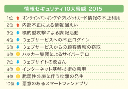 IPA「情報セキュリティ10大脅威 2015」を発表